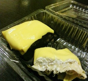 Durian puffs with fresh Durian and cream cheese. The flavour of Durian was a bit too overpowering for my taste!