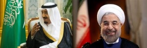 King Salman of Saudi Arabia (right) and President Rouhani of Iran (left)